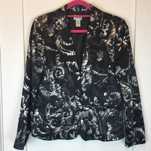 Chicos | Black & White Print Silk Blazer